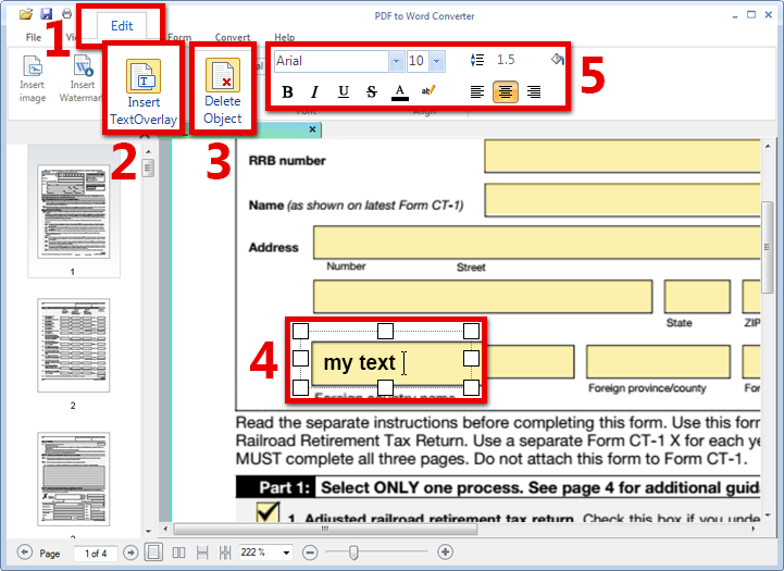 Add text to PDF file